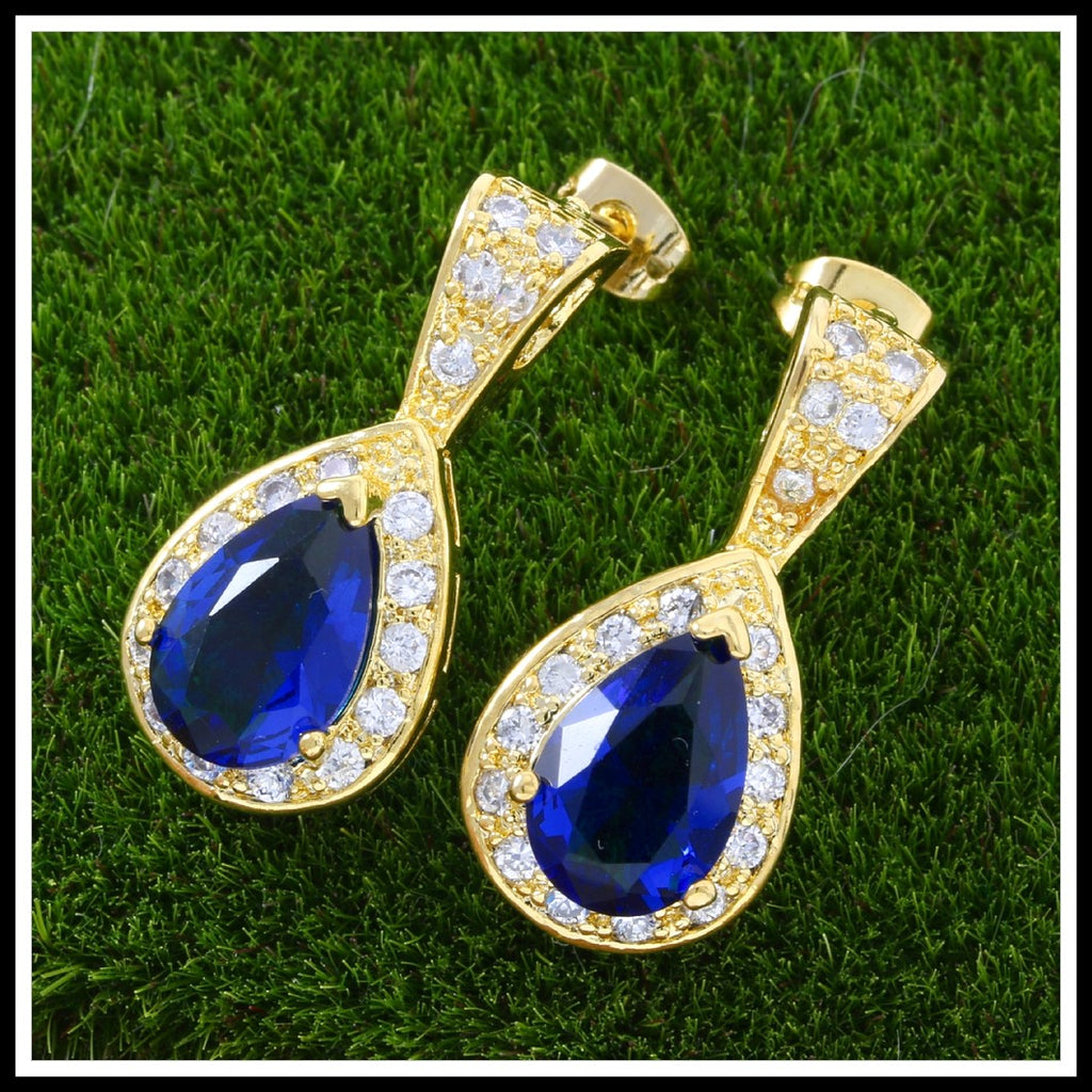 7.00ctw Blue & White Sapphire Earrings