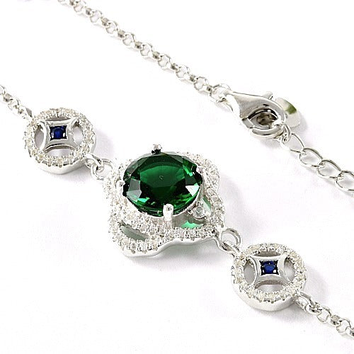 Solid .925 Sterling Silver with 18K White Gold Overlay, 3.50ctw Green, Blue & White AAA Grade Italian CZ's Bracelet