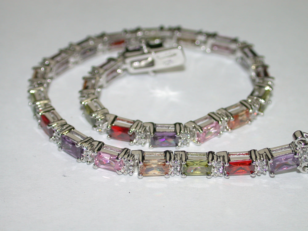 .925 Sterling Silver & 18k White Gold, Multi-Color Gems Designer Samuelle And Co. Tennis Bracelet