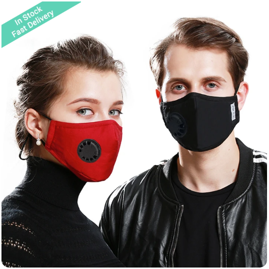 Cotton KN95 Washable Reusable   Face  Mask With Breathing Valve and PM2.5 Filter