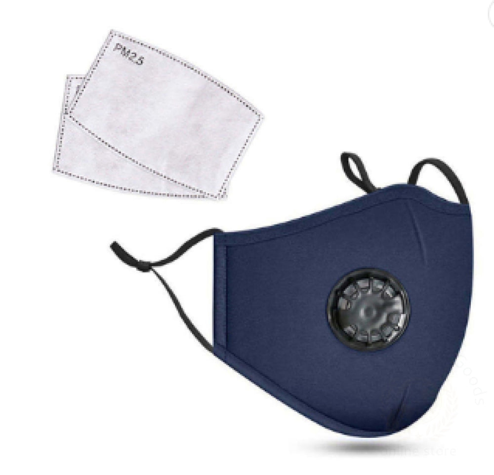 Cotton Kn95 Washable Reusable Face Mask With Breathing Valve And Pm2.5 Filter Blue Facial Mask