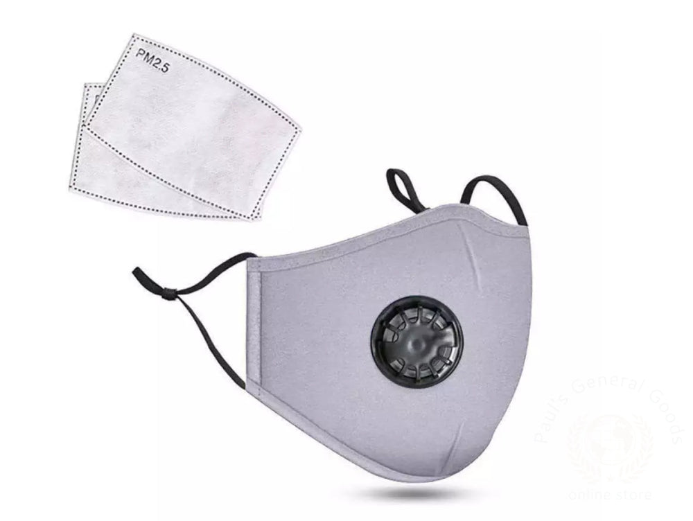 Cotton Kn95 Washable Reusable Face Mask With Breathing Valve And Pm2.5 Filter Grey Facial Mask