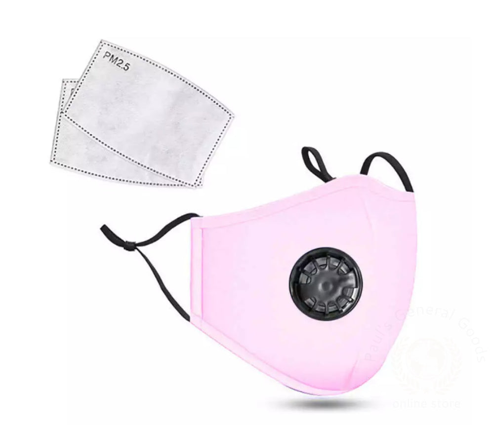 Cotton Kn95 Washable Reusable Face Mask With Breathing Valve And Pm2.5 Filter Pink Facial Mask