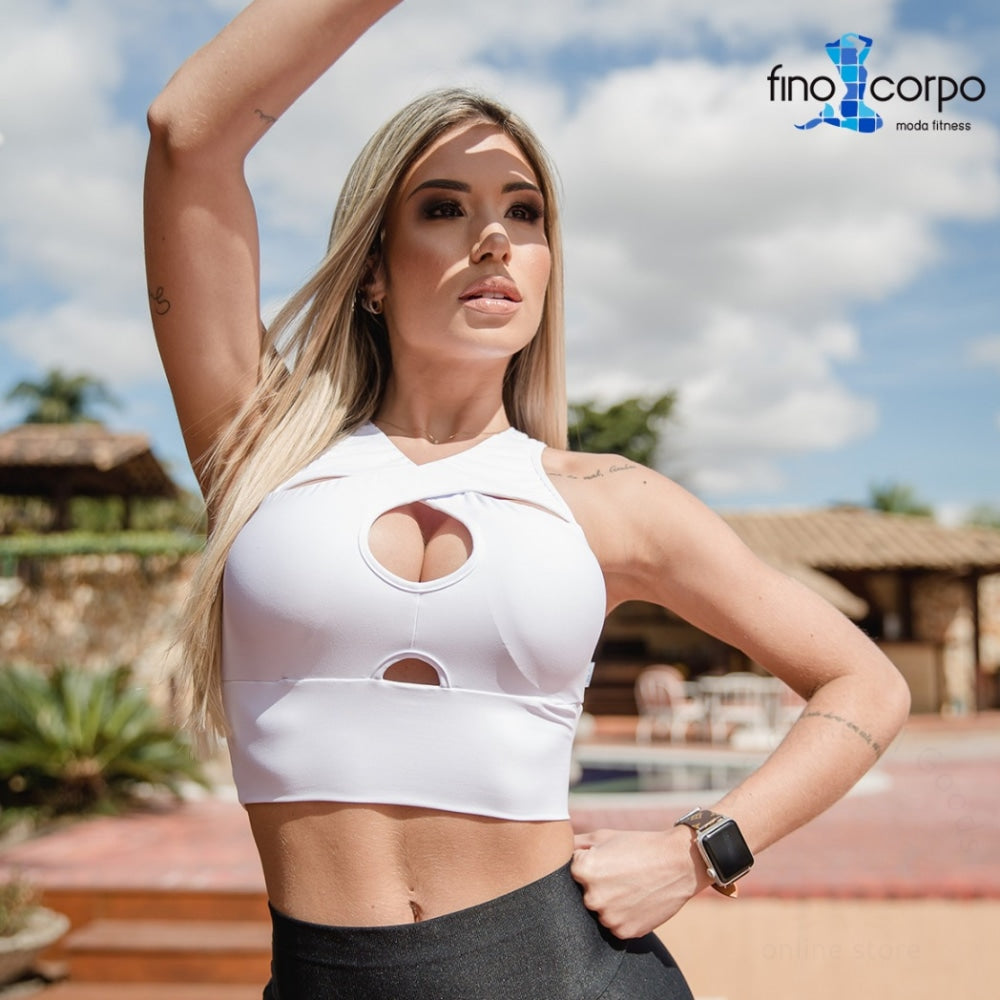 Fashion Fitness Crop Top With Removable Breast Inserts S ( 0-4 ) / White Tops Fino Corpo