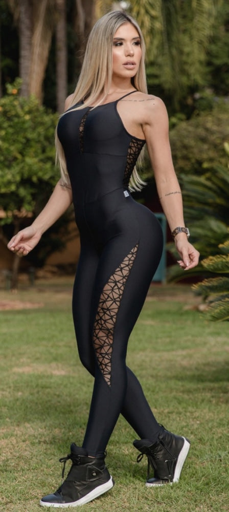 Jumpsuit Embroidered Tulle Uv 50+ Fashion Fitness Fino Corpo Jumpsuits