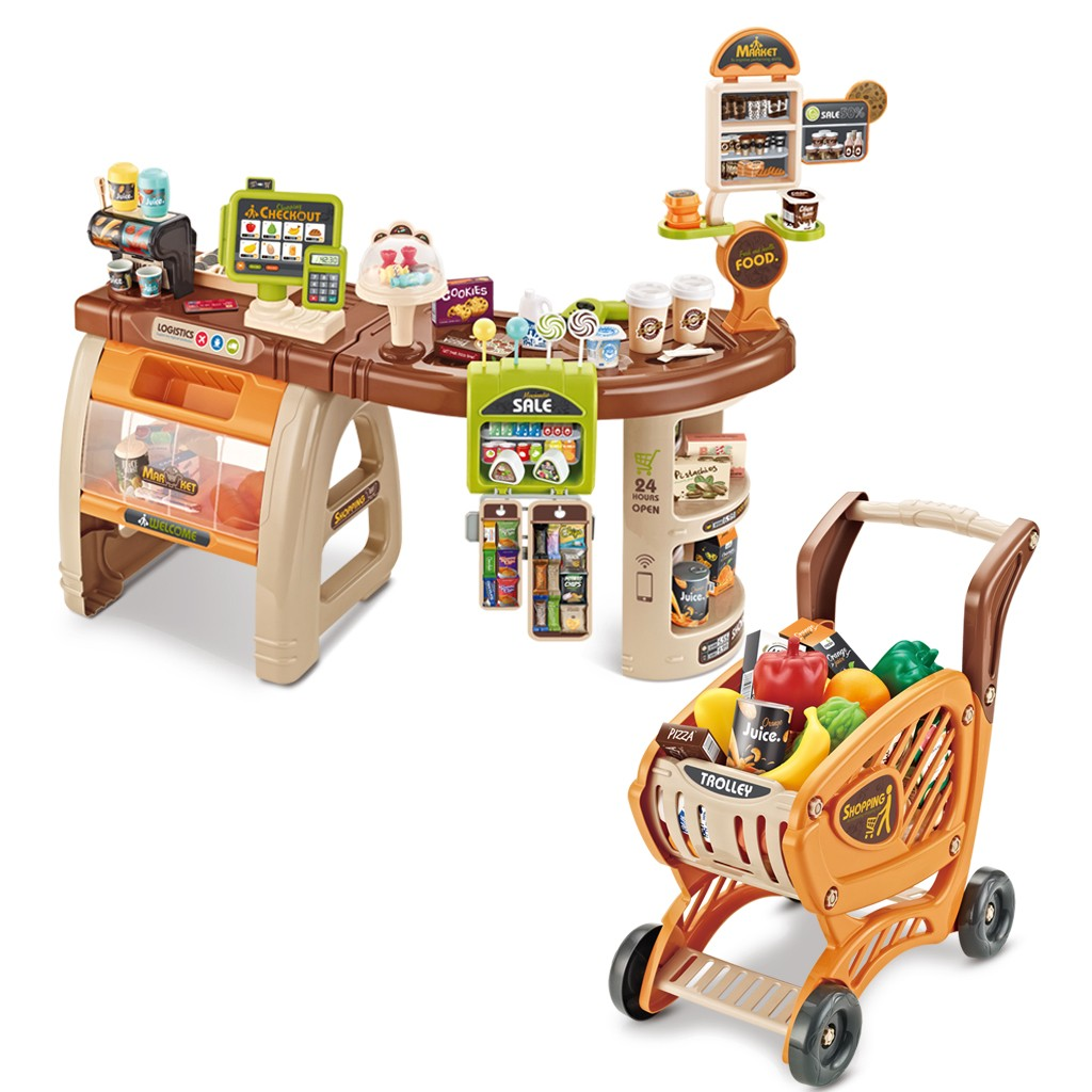 Shopping Grocery Play Store For Kids With Shopping Cart And Scanner  Includes 65 PCS