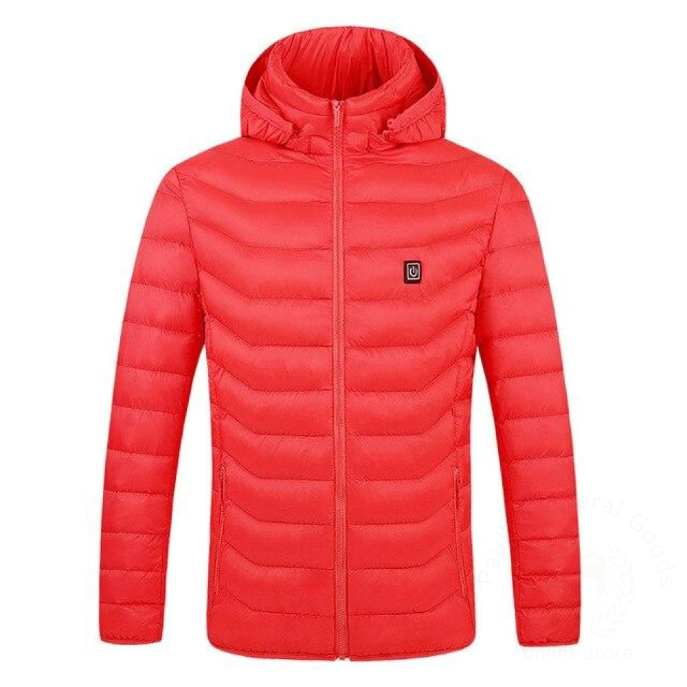Men Women Electric Heating Vest Usb Heated Hooded Coat Tops Outwear J9 Red / M