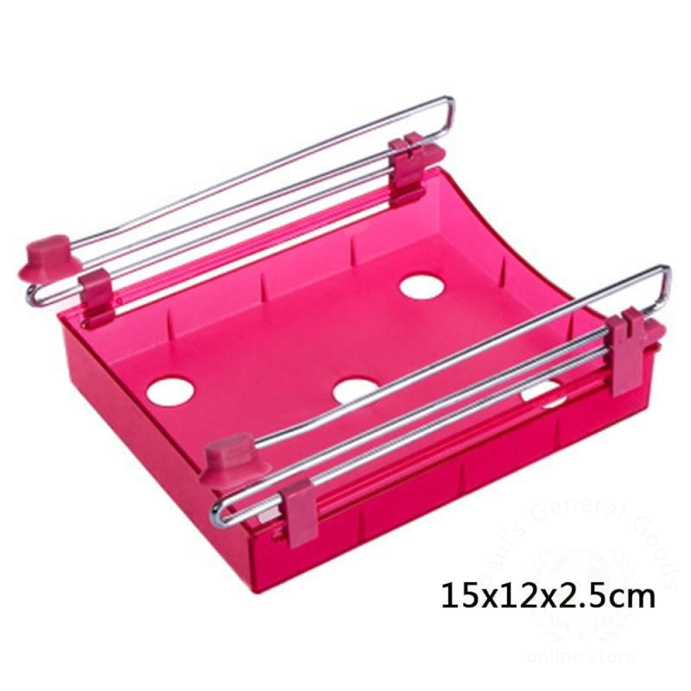 Refrigerator Fresh-Keeping Multi-Purpose Finishing Storage Rack Rose Red 3 / 1 Kitchen Storage