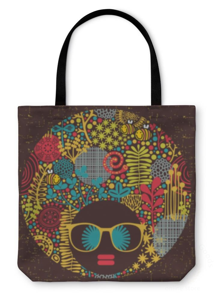 Tote Bag Black Head Woman With Strange Pattern On Her Hair