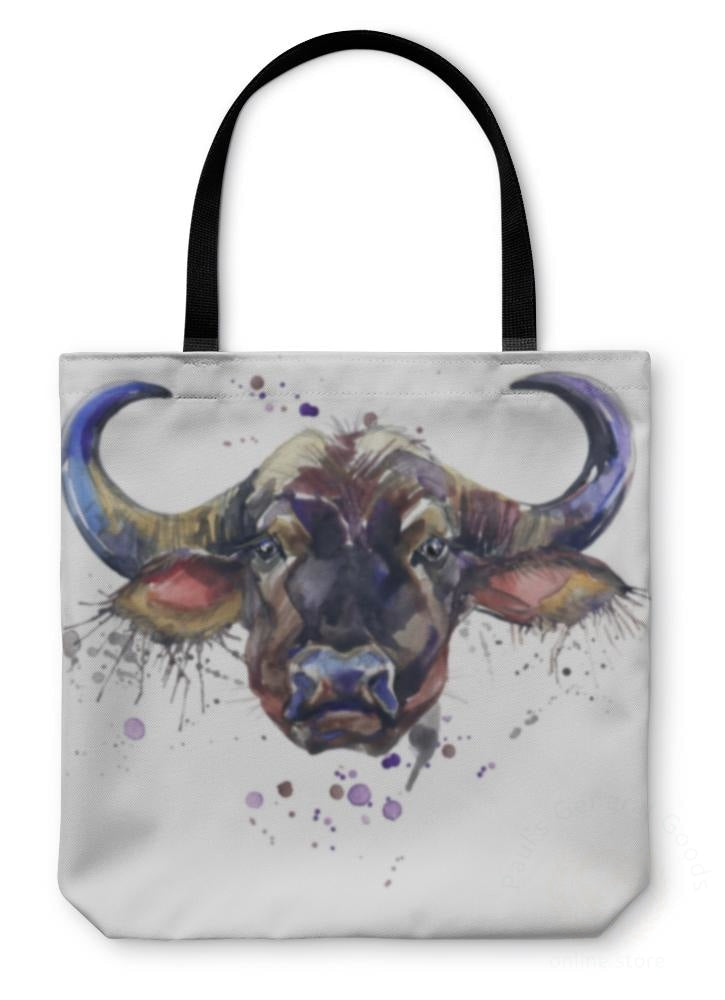 Tote Bag Buffalo Tshirt Graphics African Animals Illustration With Splash