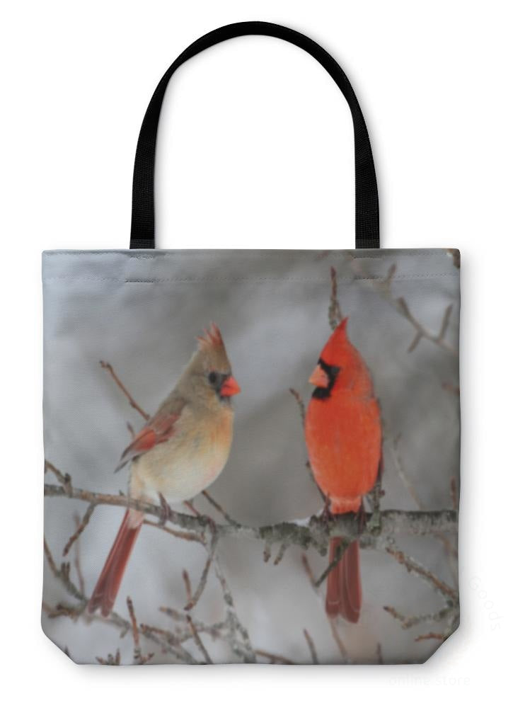 Tote Bag Cardinals In Snow 13 Inches Wide