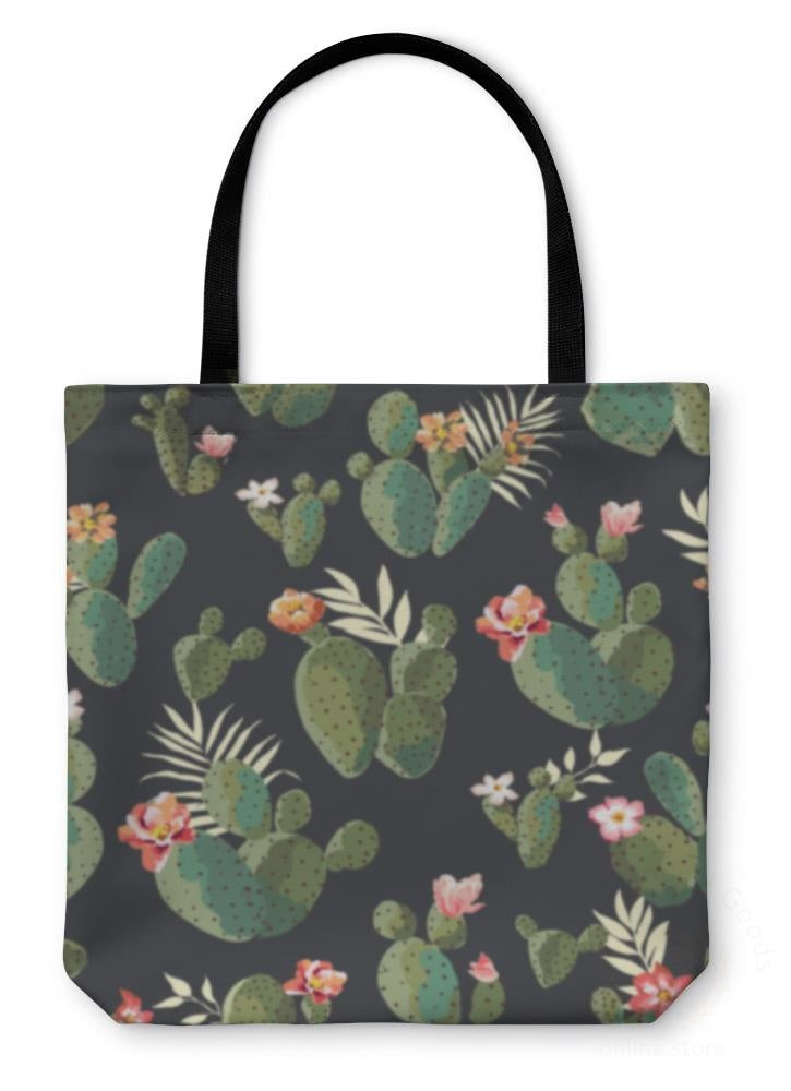 Tote Bag Cute Cactus Print Pattern 13 Inches Wide