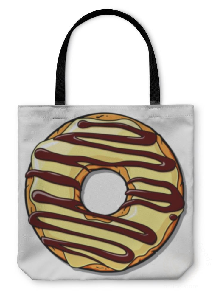 Tote Bag Donut Illustration Place For Your Text