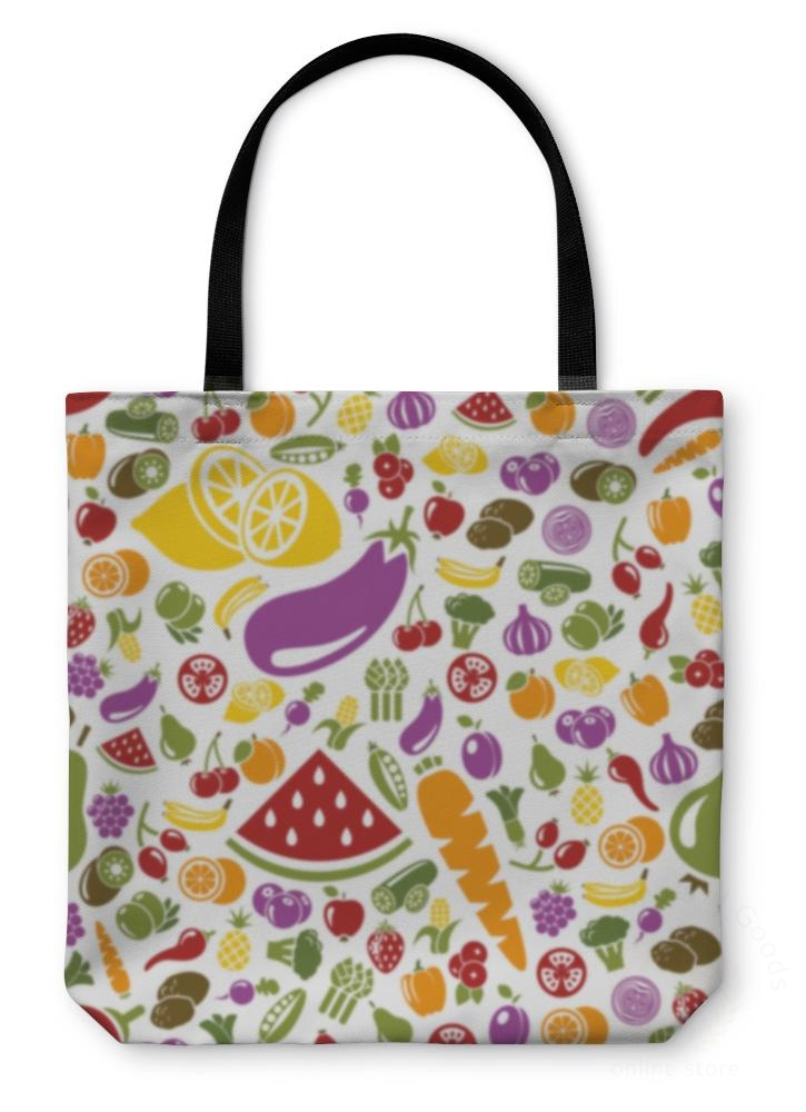 Tote Bag Fruits And Vegetable Pattern