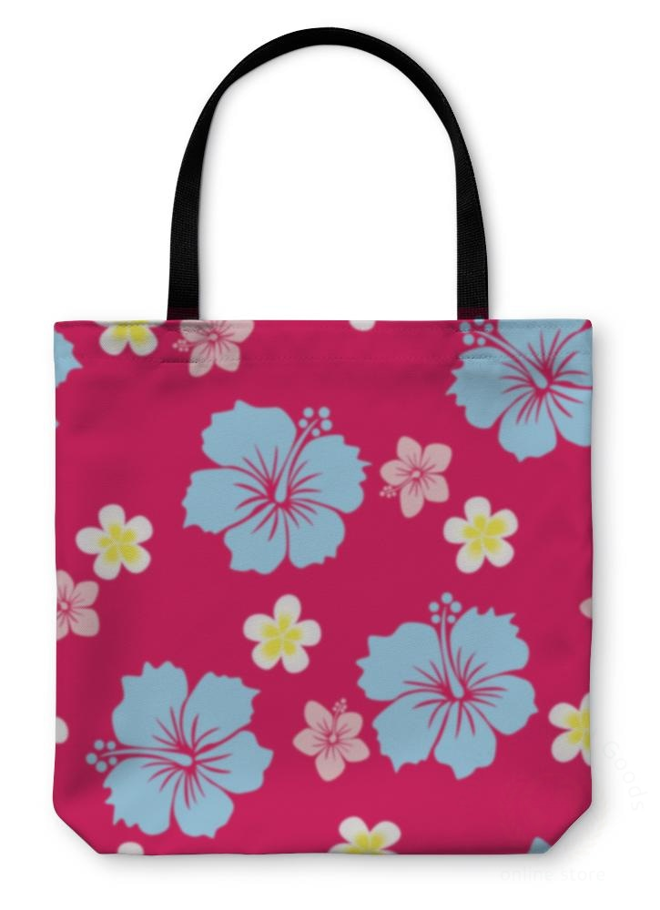 Tote Bag Hibiscus Pattern