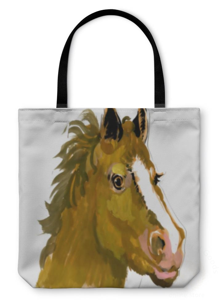 Tote Bag Horse Head Watercolor Painting 13 Inches Wide