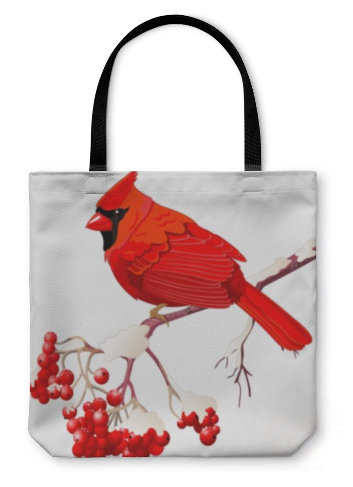 Tote Bag Red Cardinal Bird 13 Inches Wide