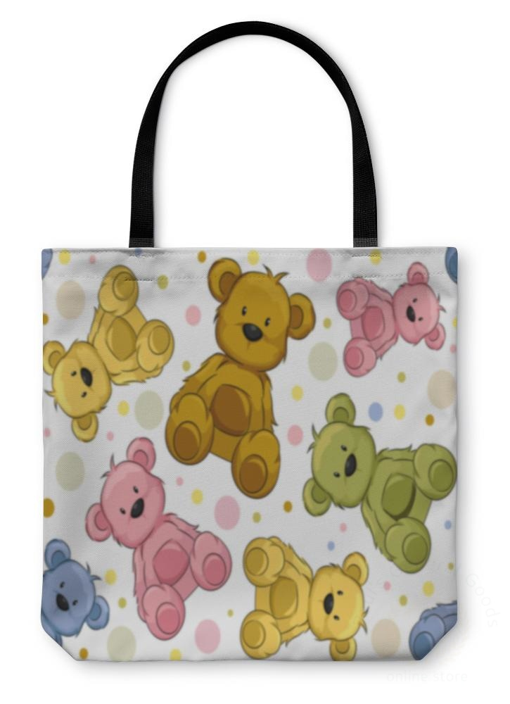 Tote Bag Seamless Teddy Bears
