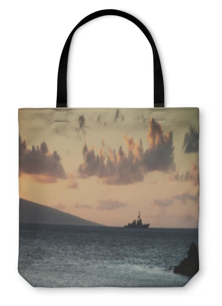 Tote Bag Us Navy Ship At Sunset 13 Inches Wide