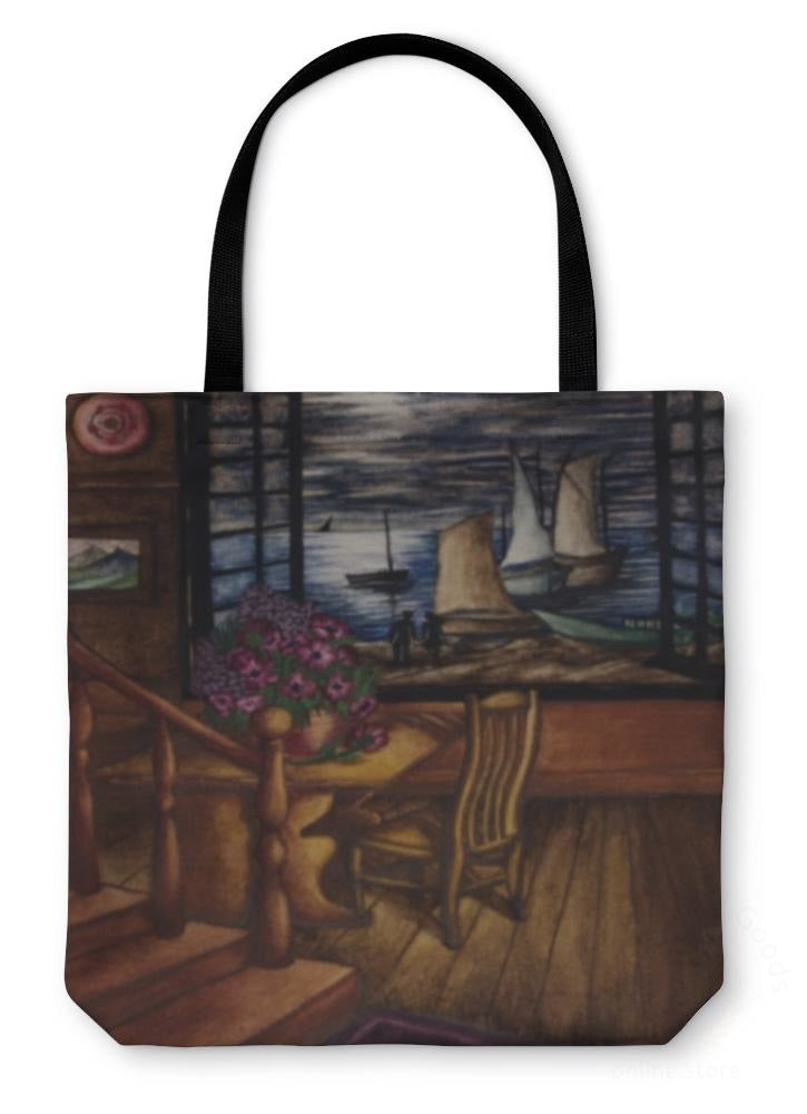 Tote Bag View Of The Moon And Sea