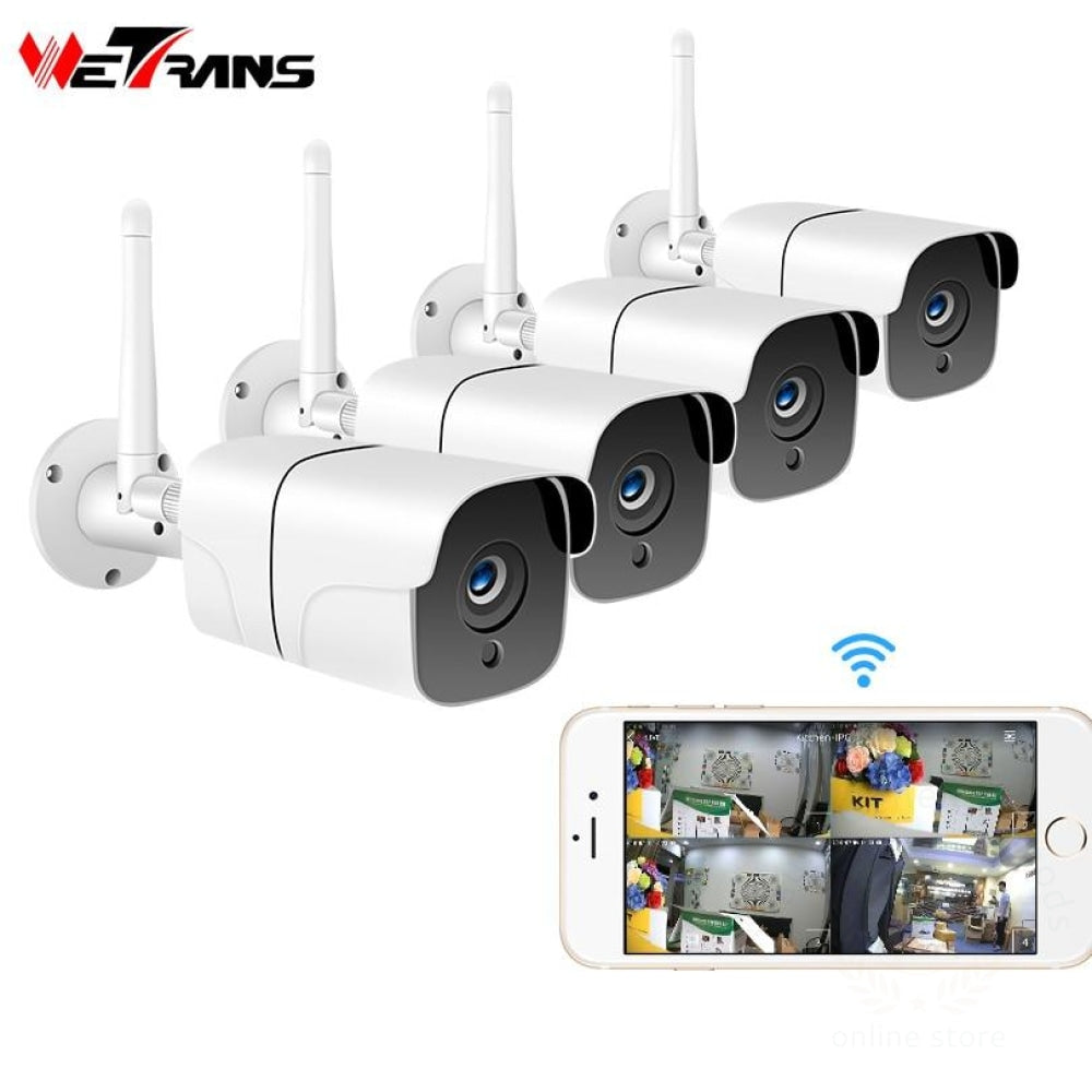 Wetrans Wireless Security Camera System 1080P Ip Wifi Sd Card Outdoor 4Ch Audio Cctv Video