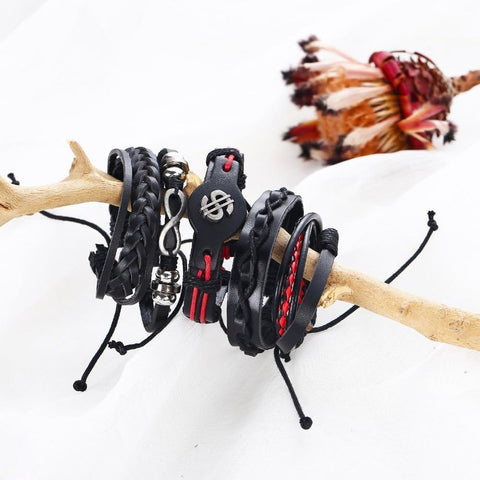 Men Fashion Stylish Feather Multi-layer Bracelet