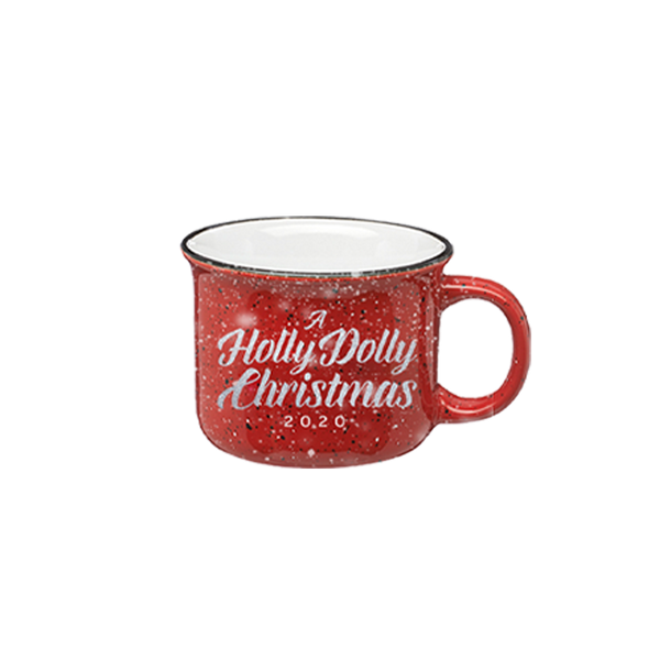 A HOLLY DOLLY CHRISTMAS SCRIPT CERAMIC CAMPFIRE MUG
