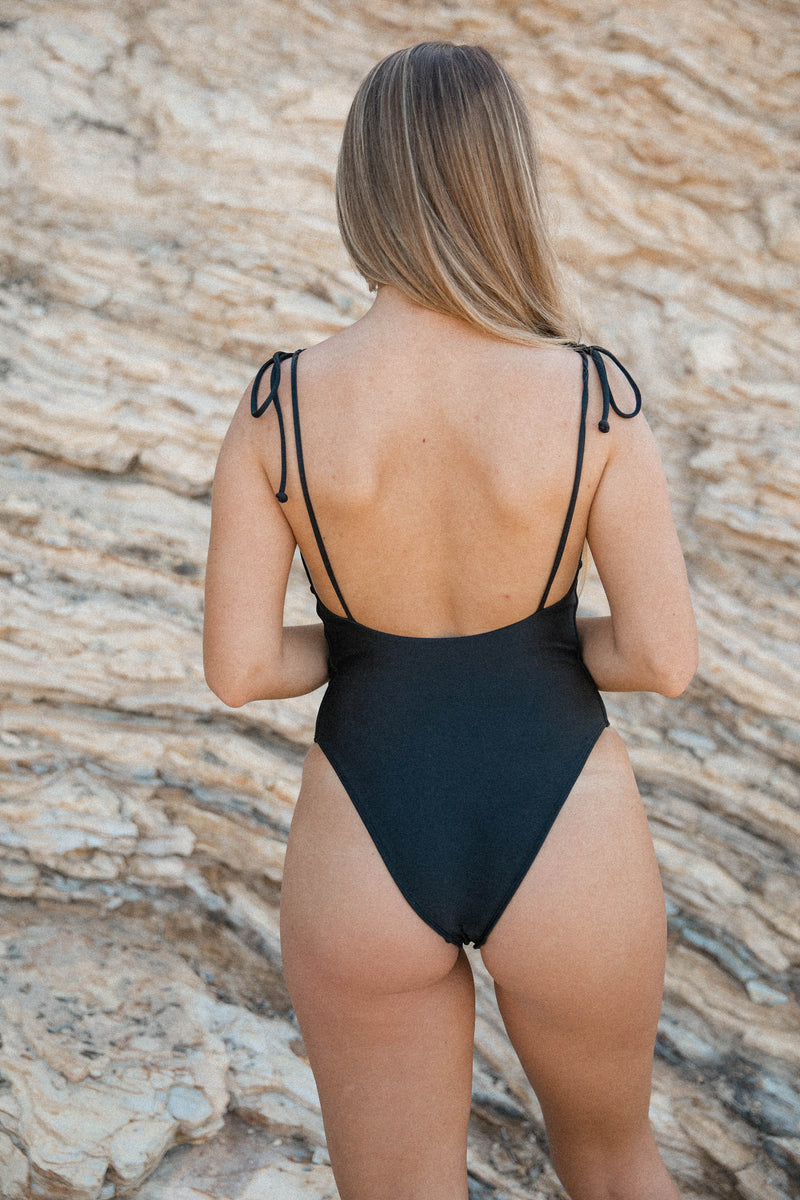 Tagged Swim Low Cut Black One Piece