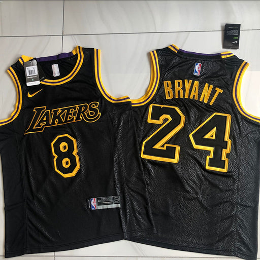 Angeles Lakers Kobe Front #8 back #24  black Authentic jersey