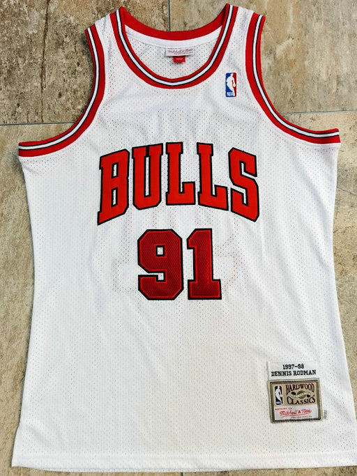 #91 Rodman chicago bulls Authentic M&N jersey white