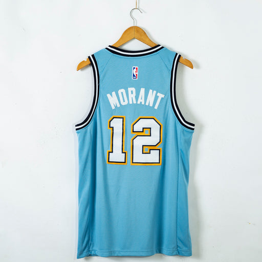 #12 MorantMemphis Grizzlies 2021 city jersey blue (stitched)