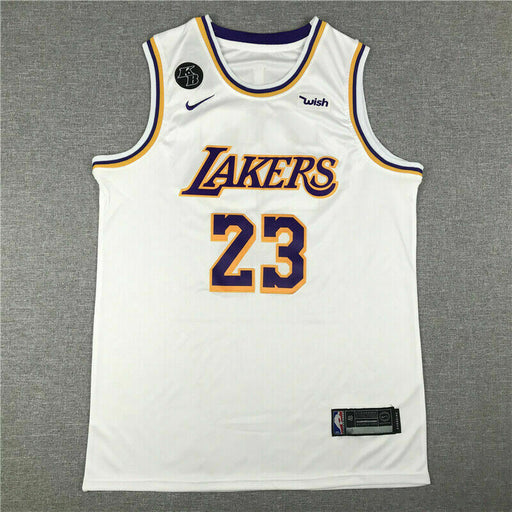 KB Badge LeBron James #23 Los Angeles Lakers Basketball Jersey Stitched White - Sport&More