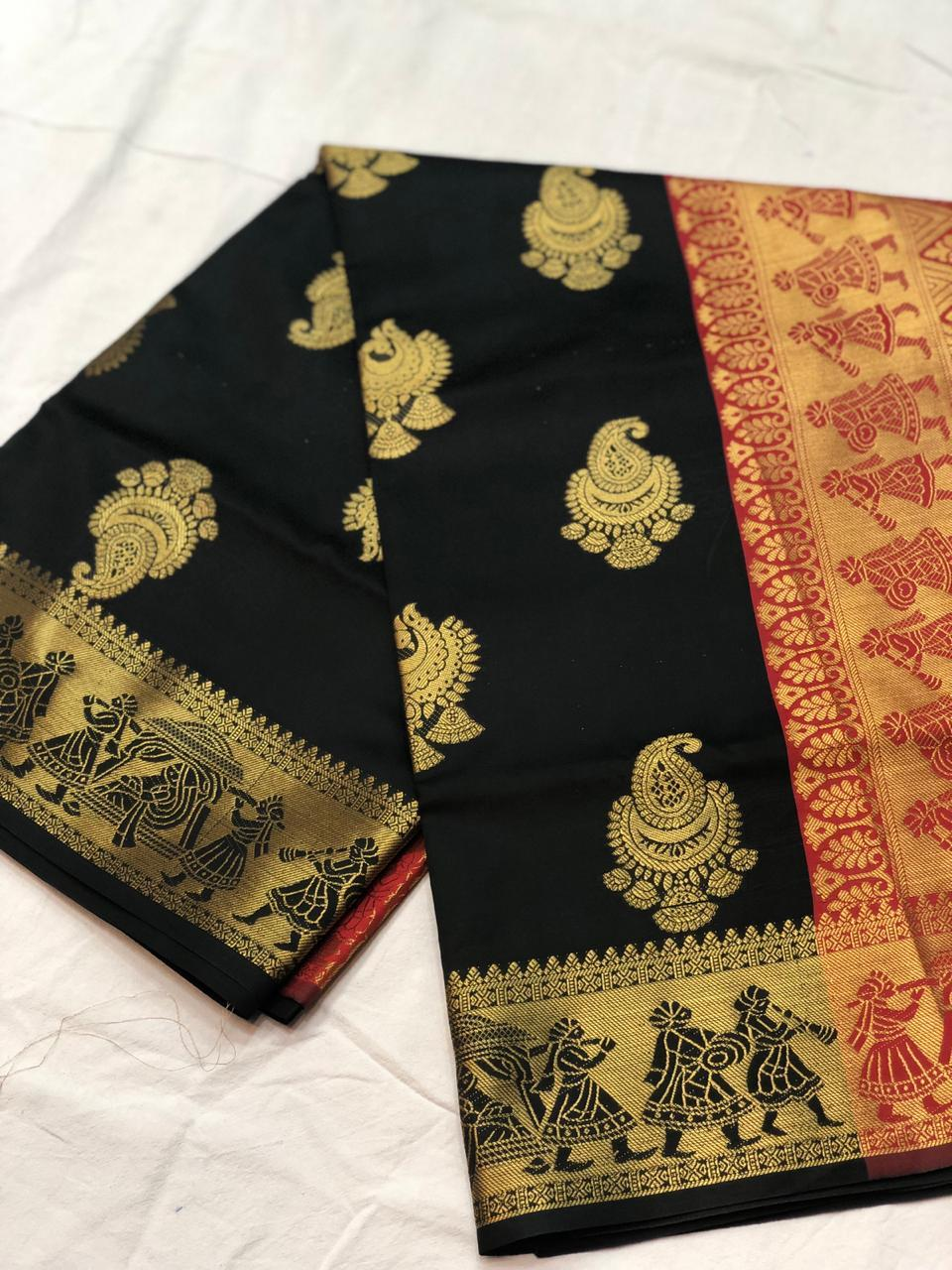vechan - New Black Banrasi Silk Beautiful Zari Work With Pallu And Saree - LECART.in - Saree