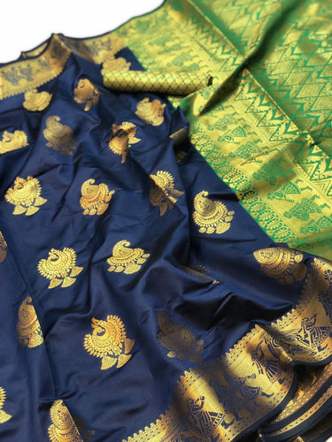 vechan - Wedding Wear Blue And Gree Hand Woven Pattu Sillk Saree With Blouse - LECART.in - Saree
