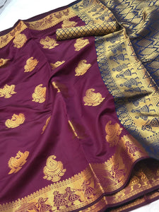 vechan - New Purple Banrasi Silk Beautiful Zari Work With Pallu And Saree - LECART.in - Saree