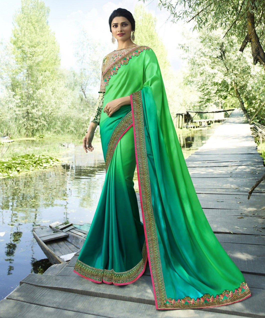 vechan - Gorgeous Green Rangoli Silk Saree With Blouse - LECART.in - Saree