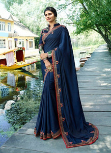 vechan - Gorgeous Navy Blue Rangoli Silk Saree With Blouse - LECART.in - Saree