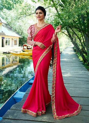 vechan - Gorgeous Pink Rangoli Silk Saree With Blouse - LECART.in - Saree