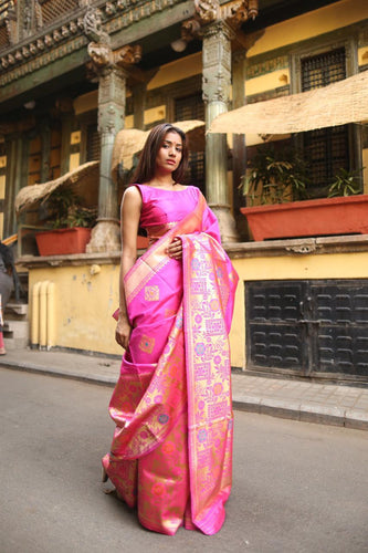 vechan - Exceptional Banarasi Silk Saree Pink Thread Zari Work and Jazzy Pallu - LECART.in - Saree