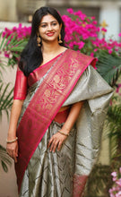 Load image into Gallery viewer, Premium Weave Grey Pure Mysore Silk Saree With Blouse