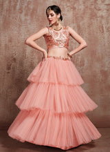 Load image into Gallery viewer, Exclusive Peach Supper Net Embroidery Ruffle Lehenga Choli