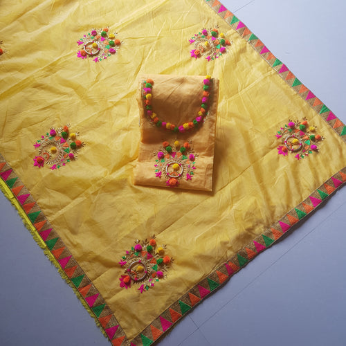 Elegant Yellow Embroidered Modal Chanderi Cotton Dress Material