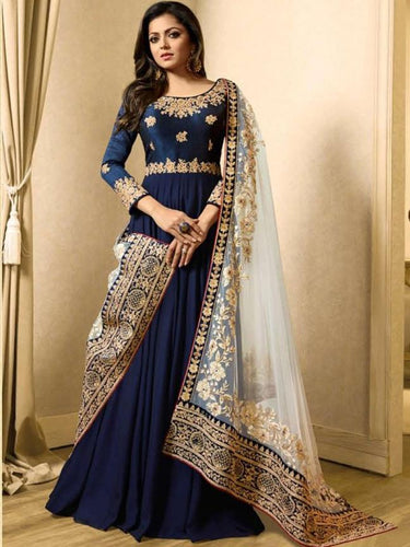 vechan - Charming Blue Designer Embroidered Party Wear Georgette Anarkali Suit - LECART.in - Lehenga