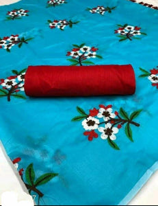 New Arrival sky blueChanderi Saree With Blouse Piece
