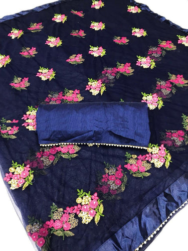 New Designer Navy Pure Mono Net Embroidery Saree With Blouse