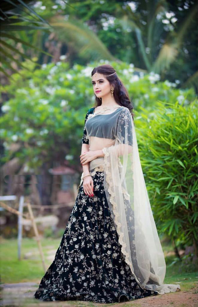 New Designer Black Lehenga Choli Velvet With Heavy Embroidery Work