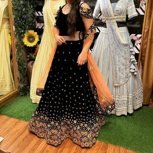 New Trending Black Viscose Velvet Lehenga Choli With Dupatta