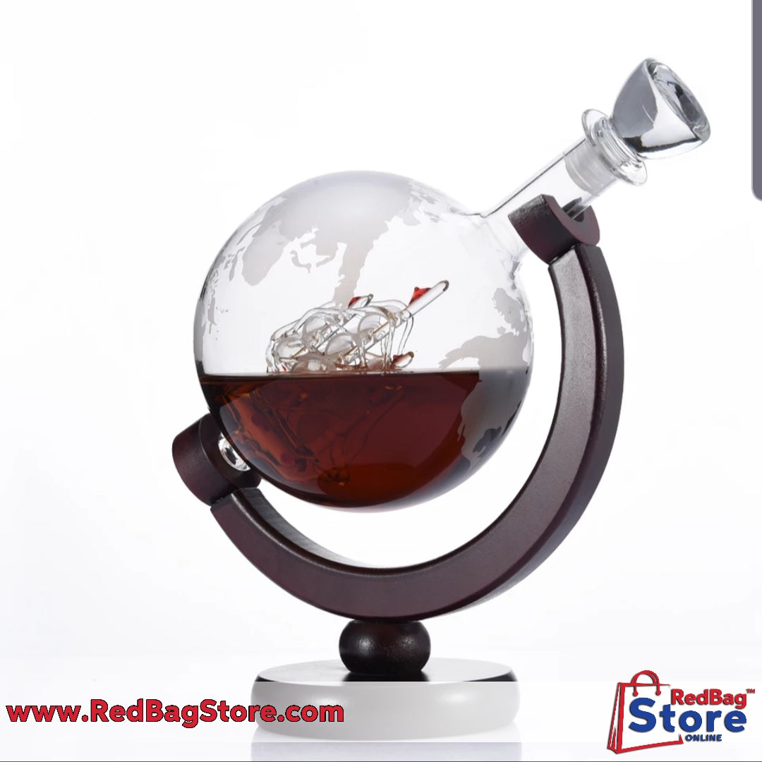850mL Globe Decanter with Finished Wood Stand Bar Funnel Wine Aerator Mini Globe Machines