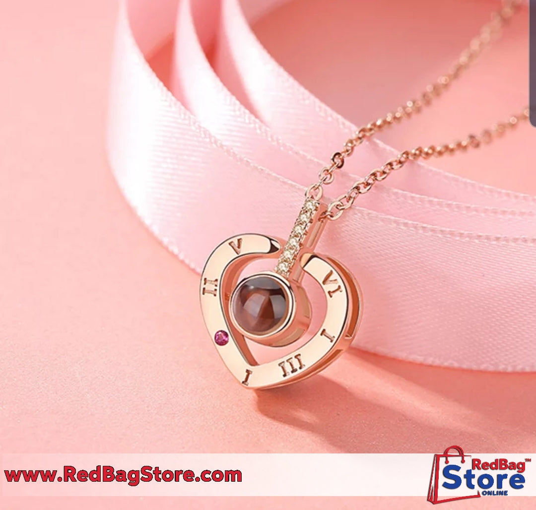 Love Memory Wedding Necklace Rose Gold&Silver 100 languages I love you Projection Pendant Necklace