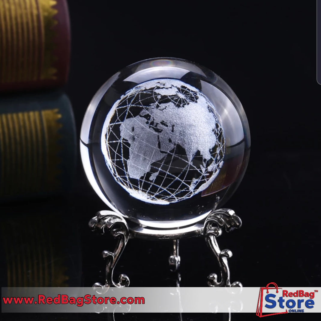 6 Cm 3D Crystal Ball Glass Laser Engraved Miniature Earth Model Sphere Crystal Craft Home Decoration